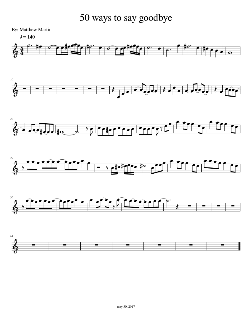 50 ways to say goodbye piano sheet music free