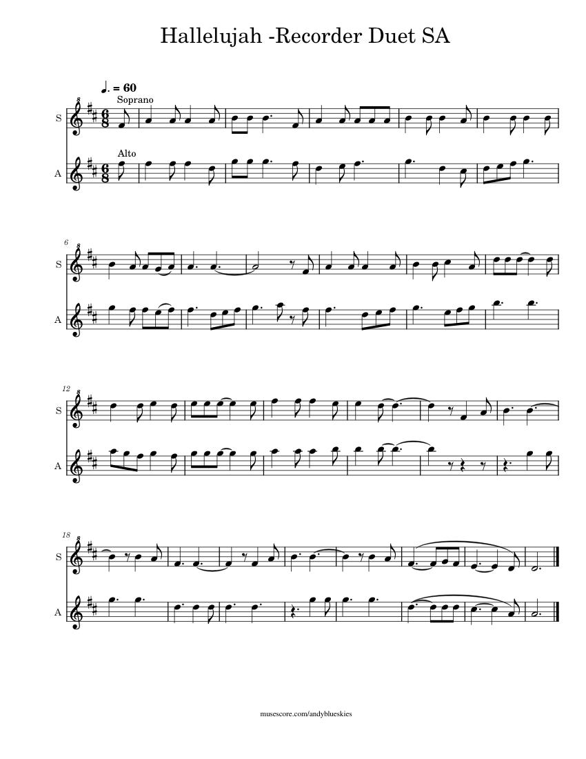 Hallelujah Recorder Duet Sheet music for Recorder (Woodwind Duet) | Musescore.com