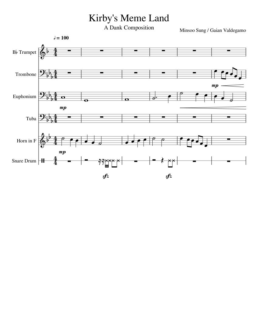 Kirby's Meme Land sheet music for Trumpet, Trombone, Tuba ...