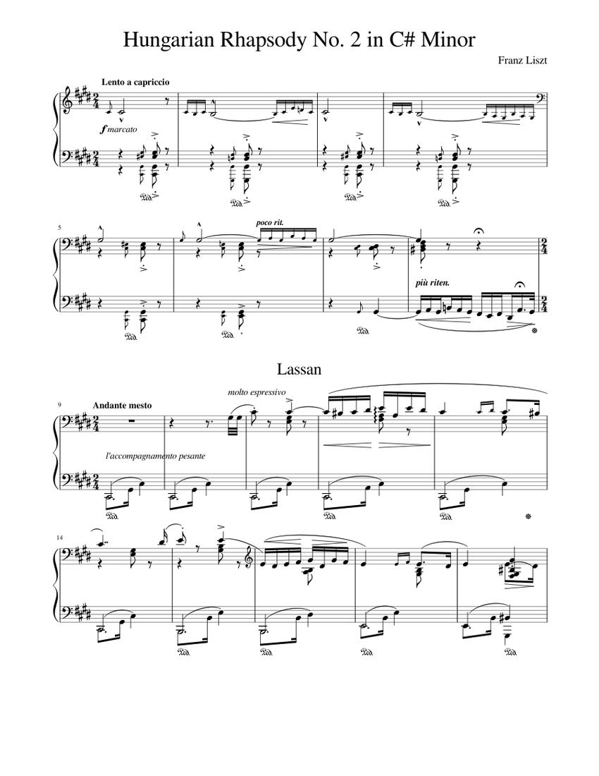 franz liszt hungarian rhapsody no 2 piano sheet music free