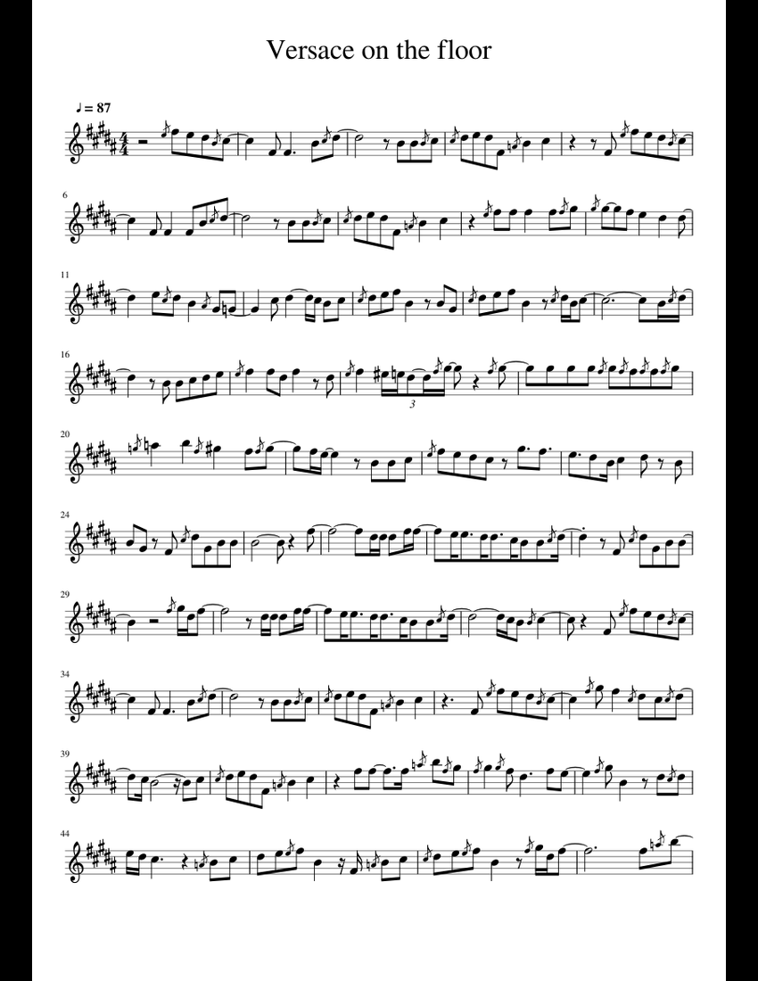 Versace On The Floor Sheet Music For Alto Saxophone
