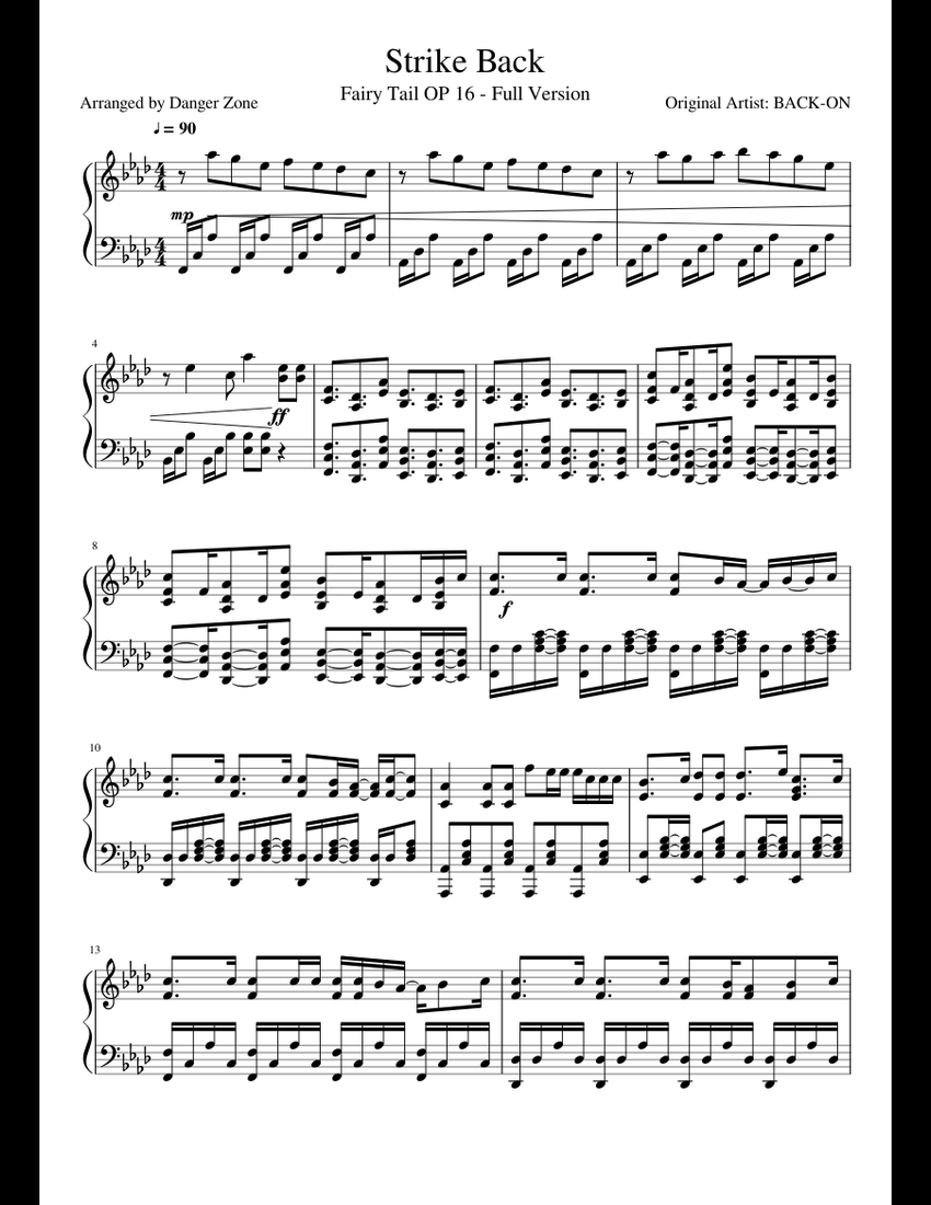 Strike Back sheet music for Piano download free in PDF or MIDI