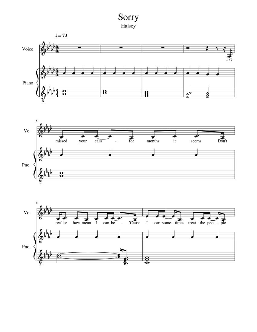 sorry piano chords halsey