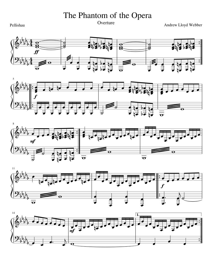 phantom of the opera piano score pdf