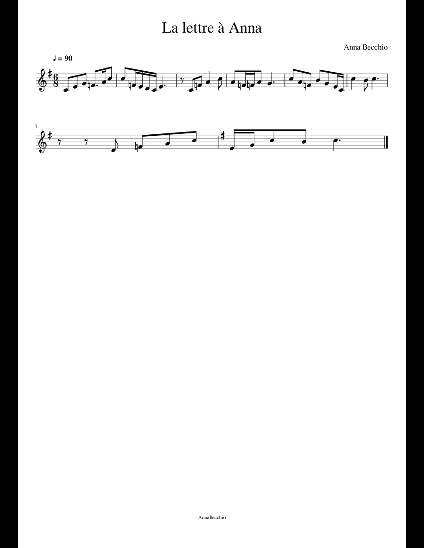 La Lettre à Anna Sheet Music For French Horn Download Free
