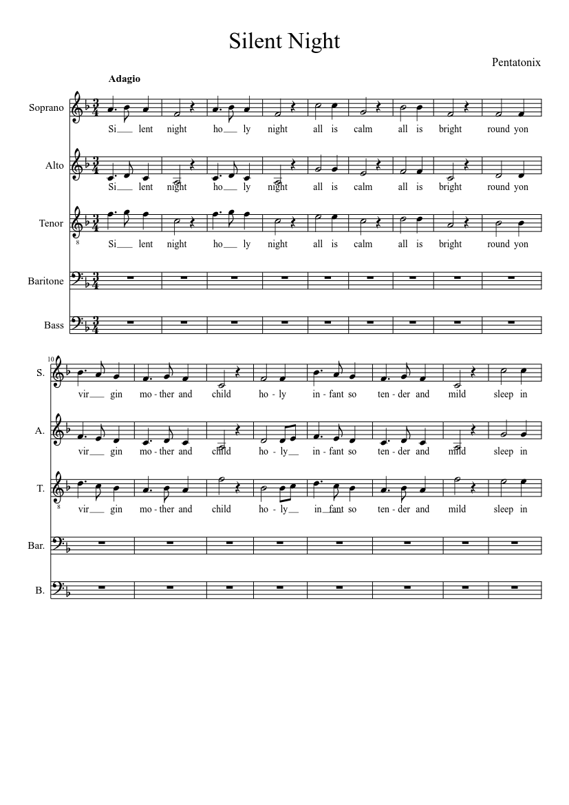 photo relating to Silent Night Lyrics Printable named Tranquil Evening (Pentatonix) - piano guidebook