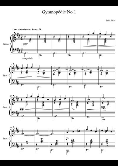 Erik Satie sheet music free download in PDF or MIDI on