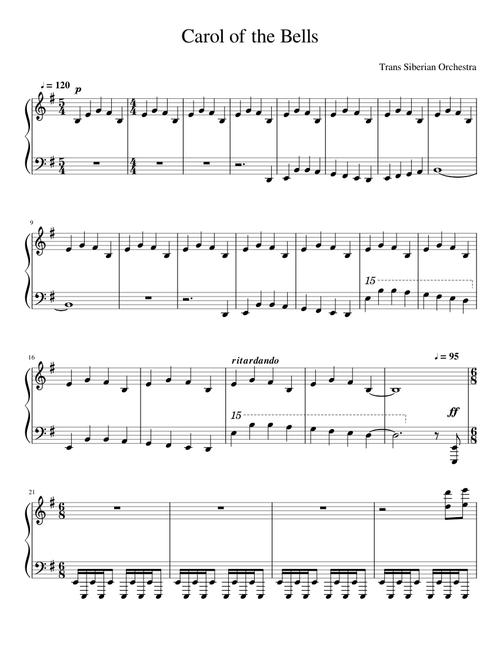 Carol Of The Bells Tso Sheet Music For Piano Solo Musescore Com