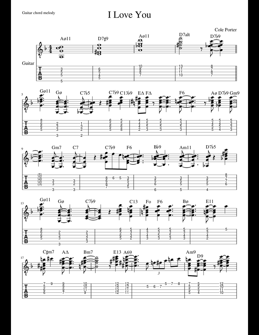 I Love You (guitar chord melody) sheet music for Guitar, Bass download free in PDF or MIDI