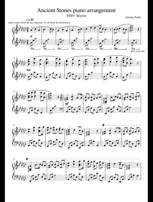Skyrim: Ancient Stones arrangement piano transcription sheet