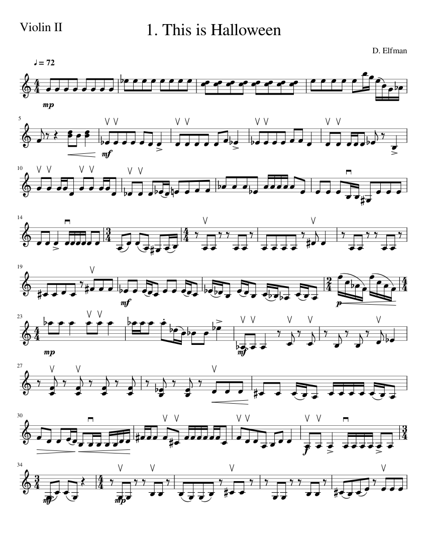 The Nightmare Before Christmas 1 This is Halloween Violin II sheet ...