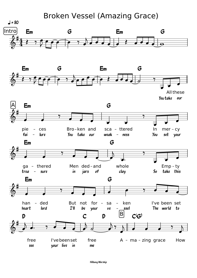 photo regarding Free Printable Piano Sheet Music for Amazing Grace referred to as Damaged Vessel (Extraordinary Grace) sheet songs for Piano obtain