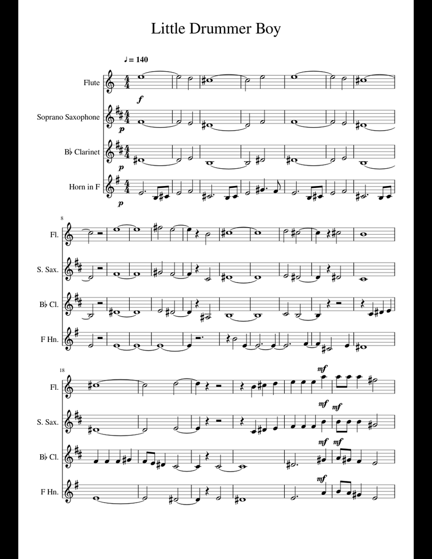 Little Drummer Boy in the style of Pentatonix sheet music for Clarinet, Soprano Saxophone ...
