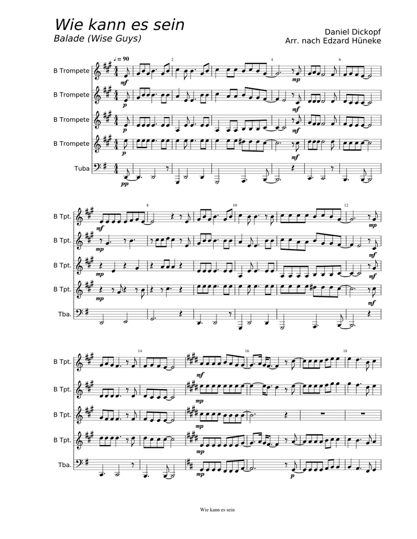Wie kann es sein - Wise Guys Sheet music for Trumpet (In B