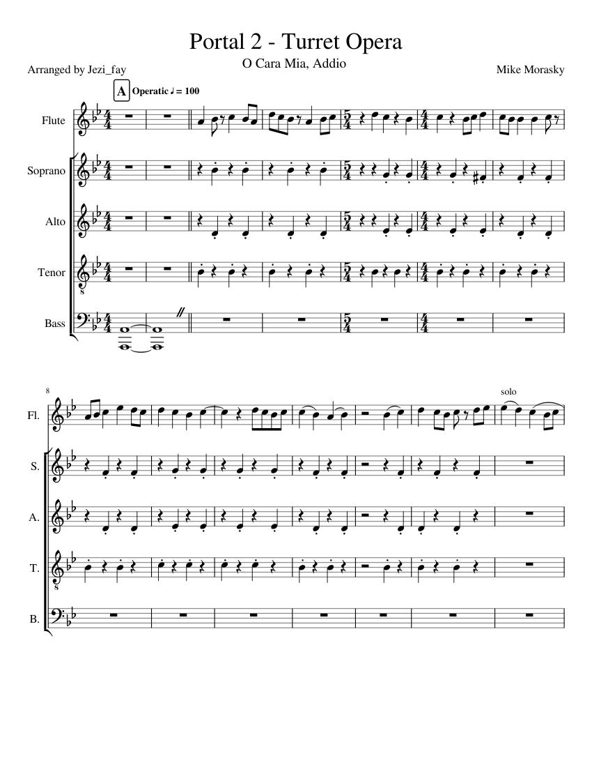 Portal 2 - Turret Opera sheet music for Flute, Voice
