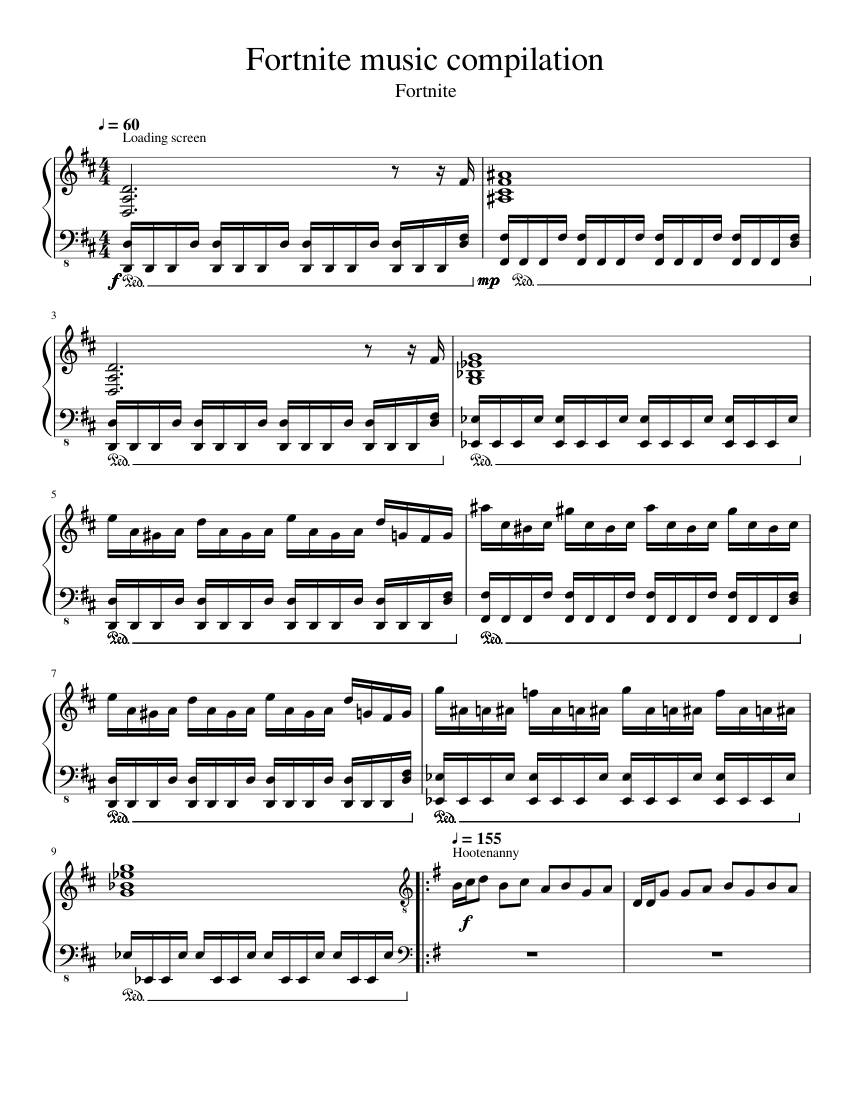 fortnite music compilation sheet music for piano download free in pdf or midi - dance therapy fortnite song