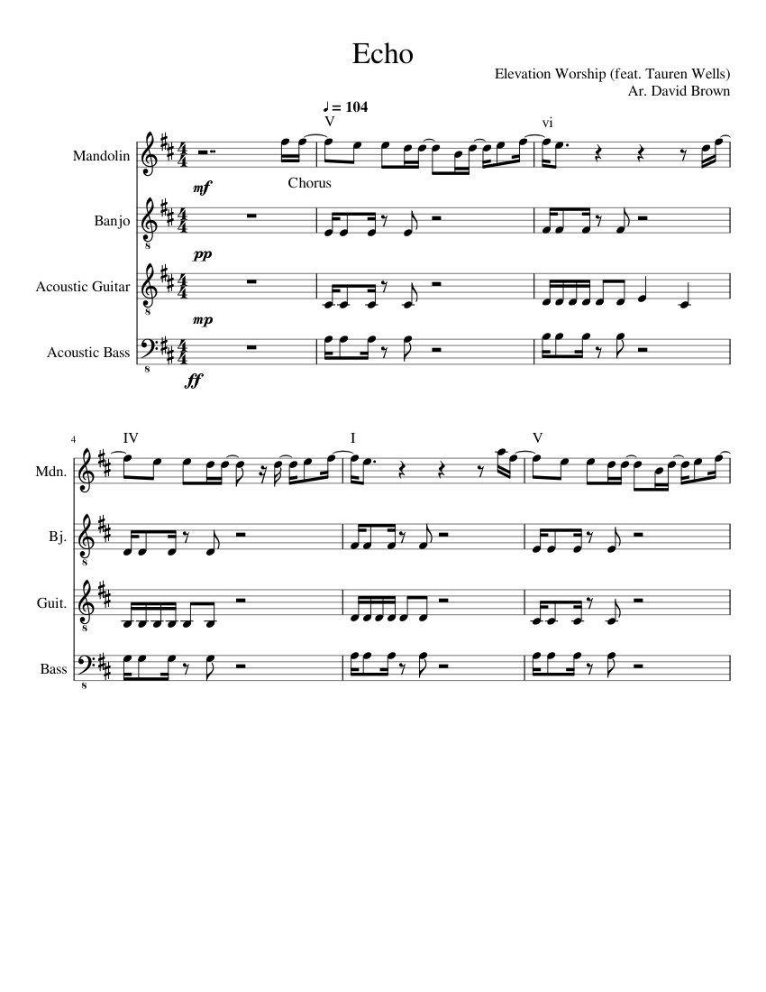 Echo sheet music for Guitar, Bass, Percussion download free in PDF