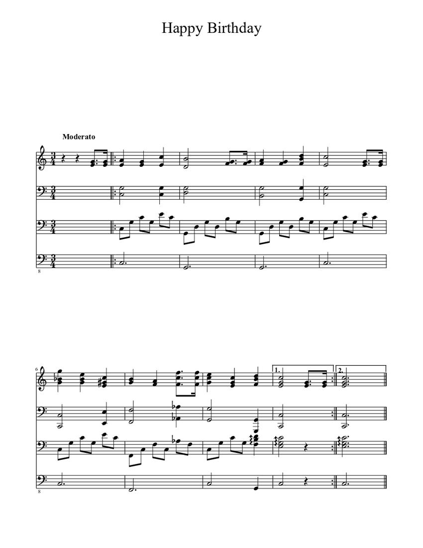 Happy Birthday Sheet music for Piano, Piccolo, Harp, Bass | Download free in PDF or MIDI ...