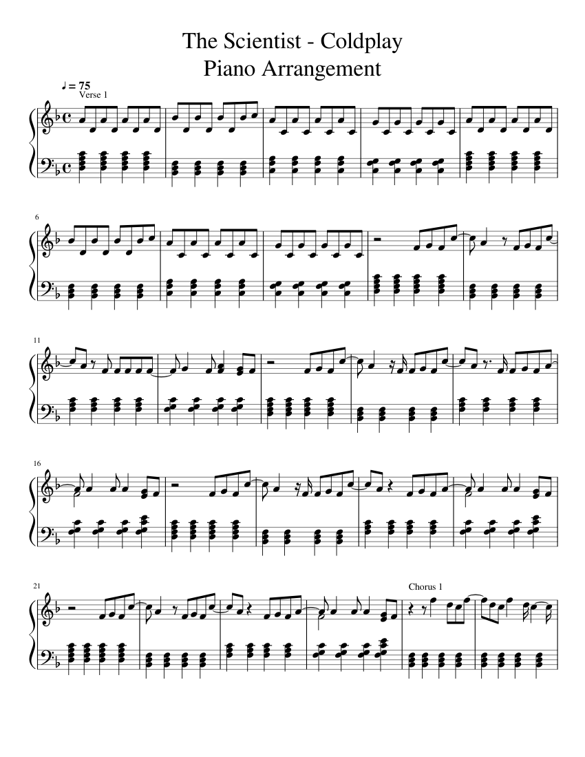 coldplay the scientist piano sheet music free