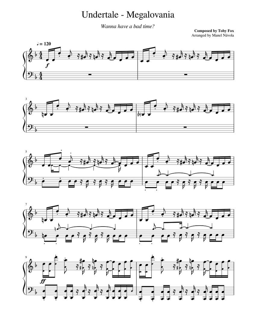 Undertale Megalovania Piano Ver 3 Sheet Music For Piano