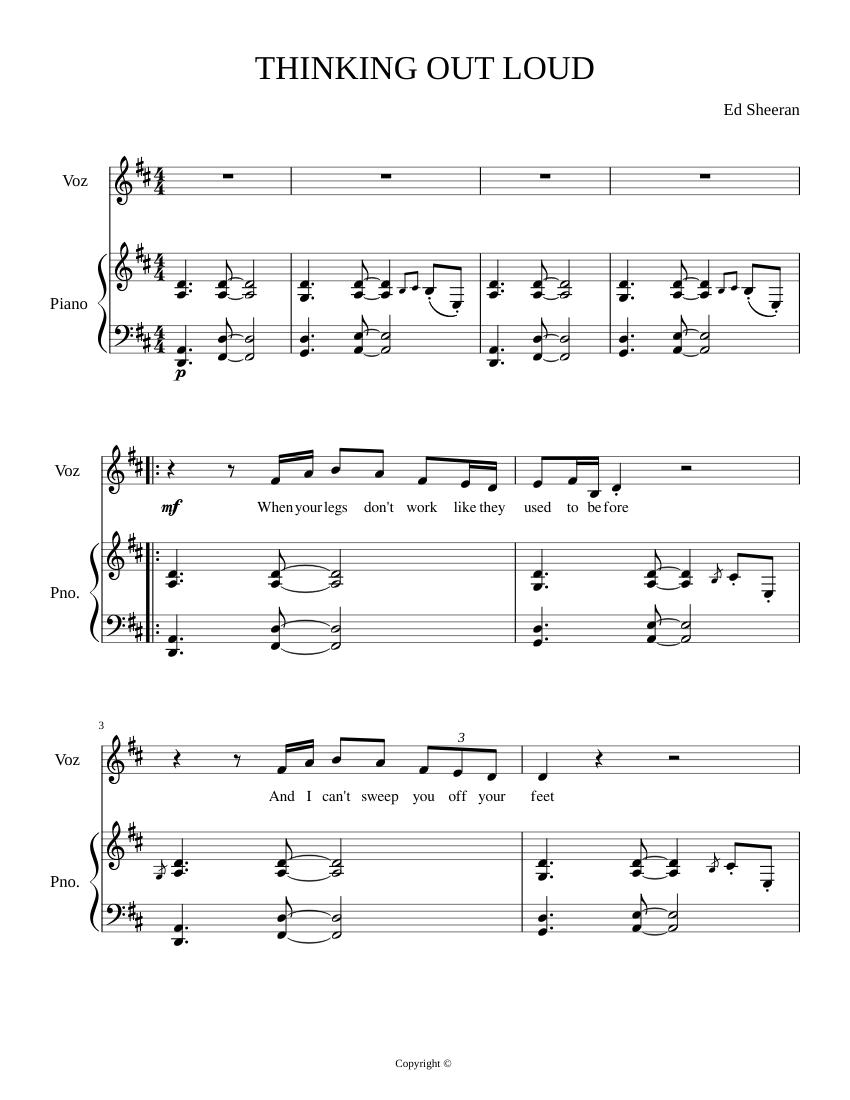 thinking out loud piano sheet music free