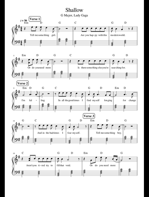 Shallow sheet music for Piano download free in PDF or MIDI