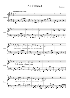 Paramore sheet music free download in PDF or MIDI on