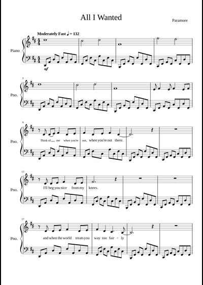 Paramore sheet music free download in PDF or MIDI on