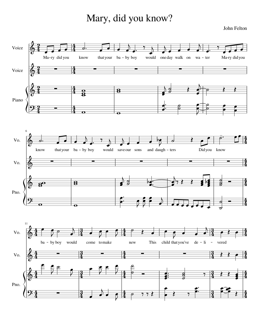 Mary did you know? Sheet music for Violin, Piano, Viola | Download free in PDF or MIDI ...