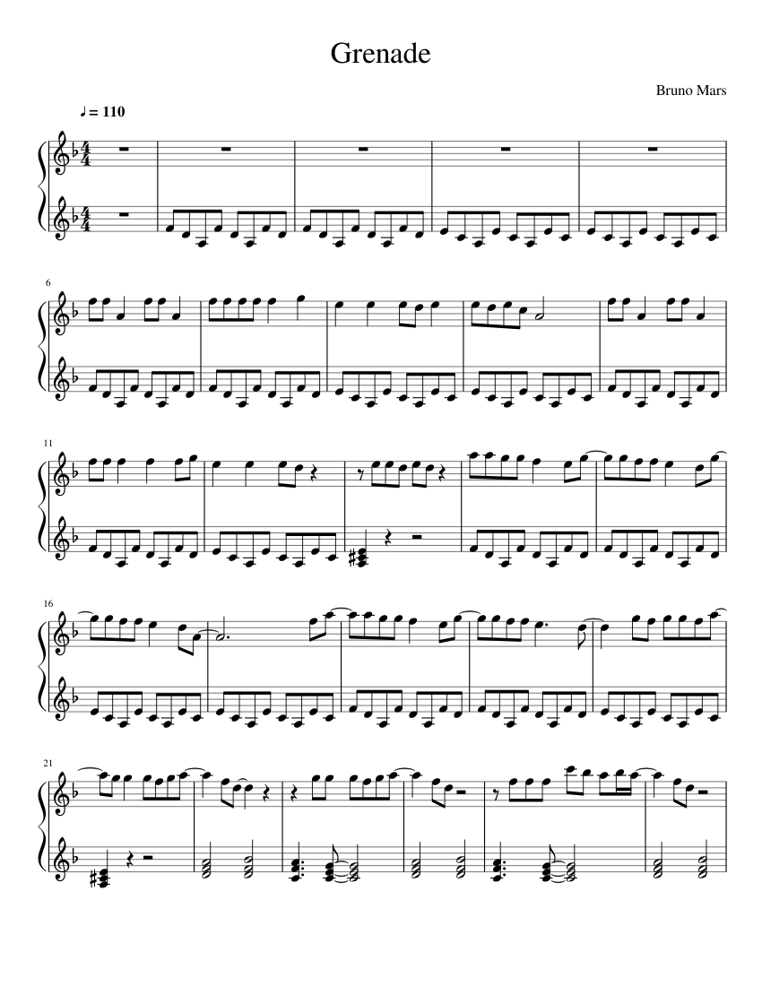 Grenade sheet music for Piano download free in PDF or MIDI