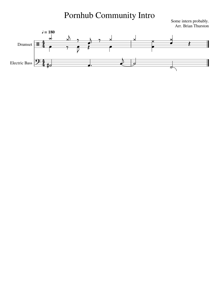 Porn Hub Pick Up French pornhub community intro sheet music for percussion, bass