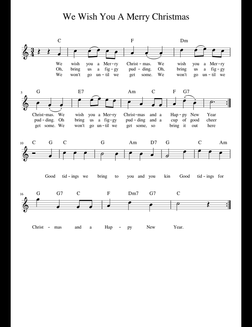 We Wish You a Merry Christmas C sheet music for Piano download free in PDF or MIDI