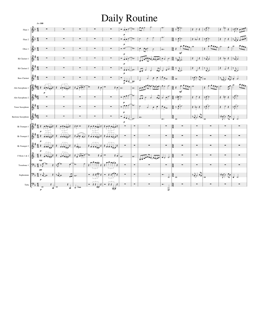 Daily Routine sheet music for Flute, Clarinet, Oboe, Alto Saxophone