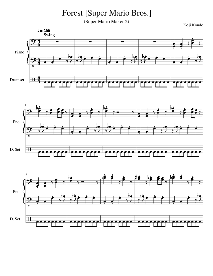 Super Mario Maker 2 Forest Smb Sheet Music For Piano Drum Group Mixed Duet Musescore Com