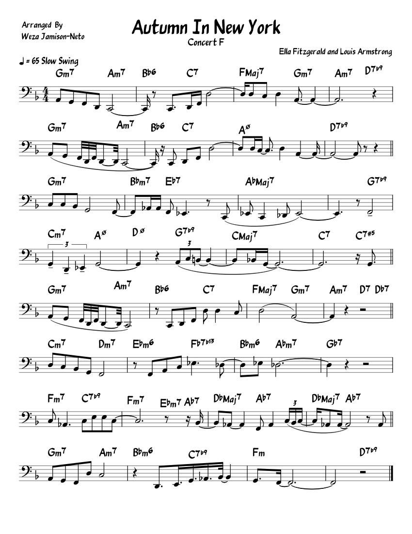 autumninnewyork sheet music for trombone download free