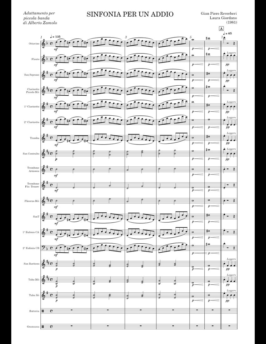 Sinfonia per un addio (concert band) sheet music for Flute