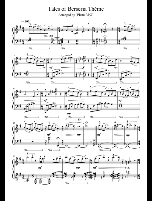 Tales of Berseria Thème sheet music for Piano download free
