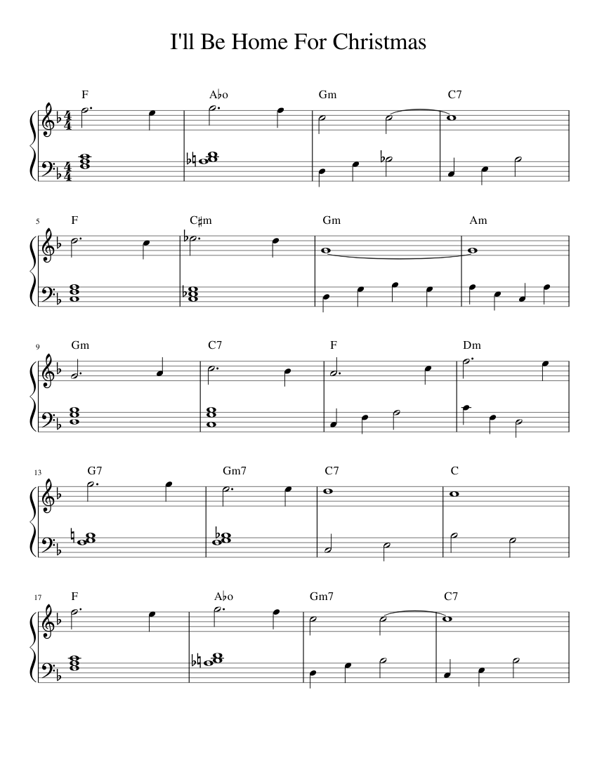 I\'ll Be Home For Christmas sheet music for Piano download free in ...
