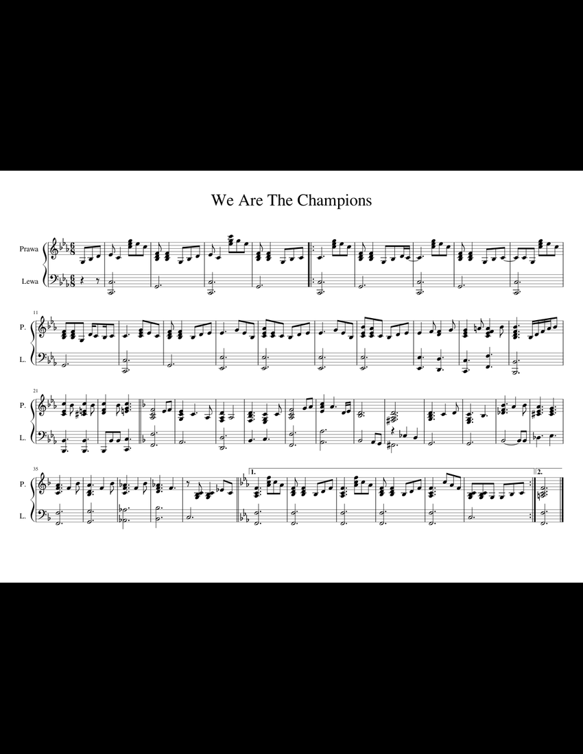We Are The Champions sheet music for Piano download free in PDF or MIDI