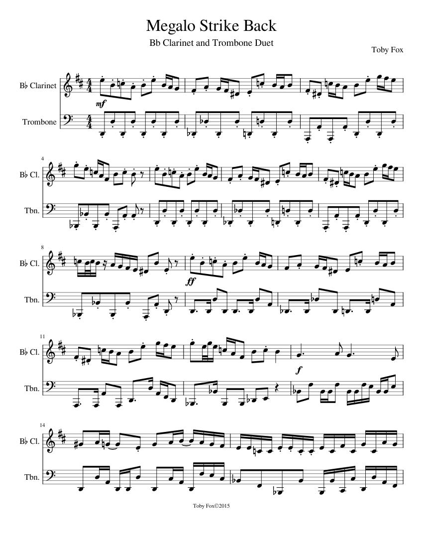Megalo Strike Back Sheet music for Clarinet, Trombone