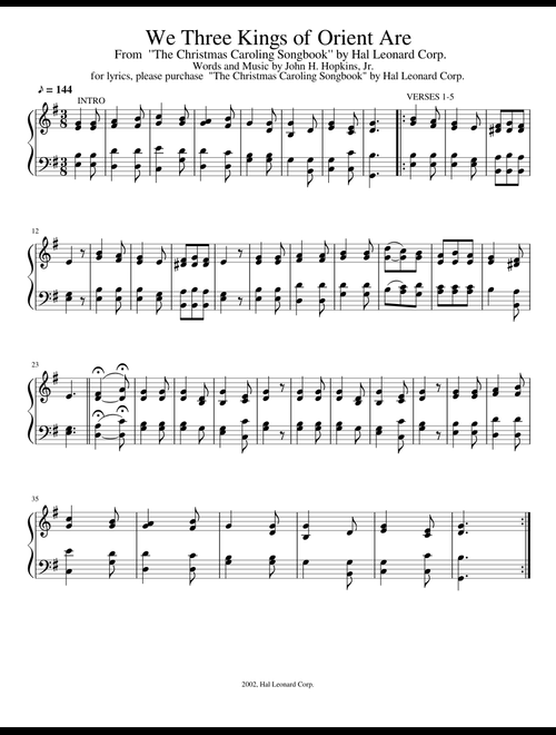 photograph regarding We Three Kings Lyrics Printable identify We A few Kings of Orient Are sheet new music for Piano obtain