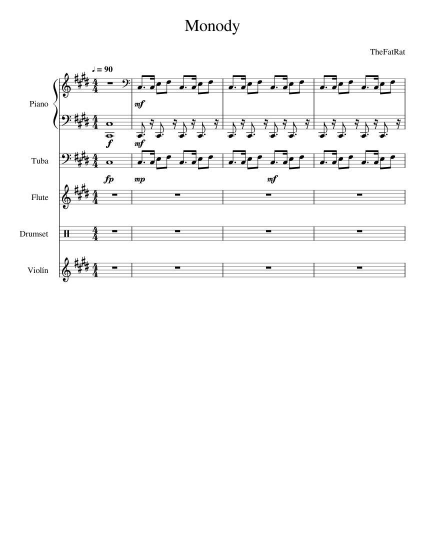 Monody The Fat Rat sheet music for Piano, Flute, Violin, Tuba download free in PDF or MIDI