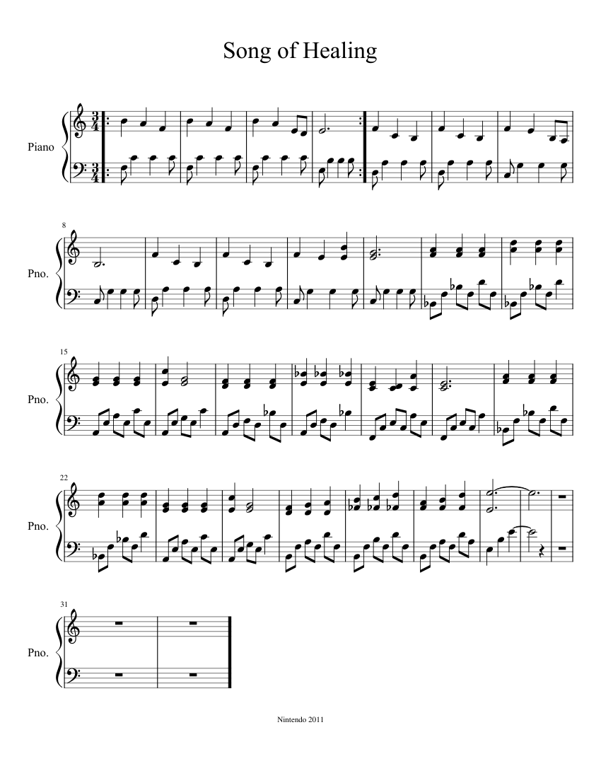 Song of Healing sheet music for Piano download free in PDF