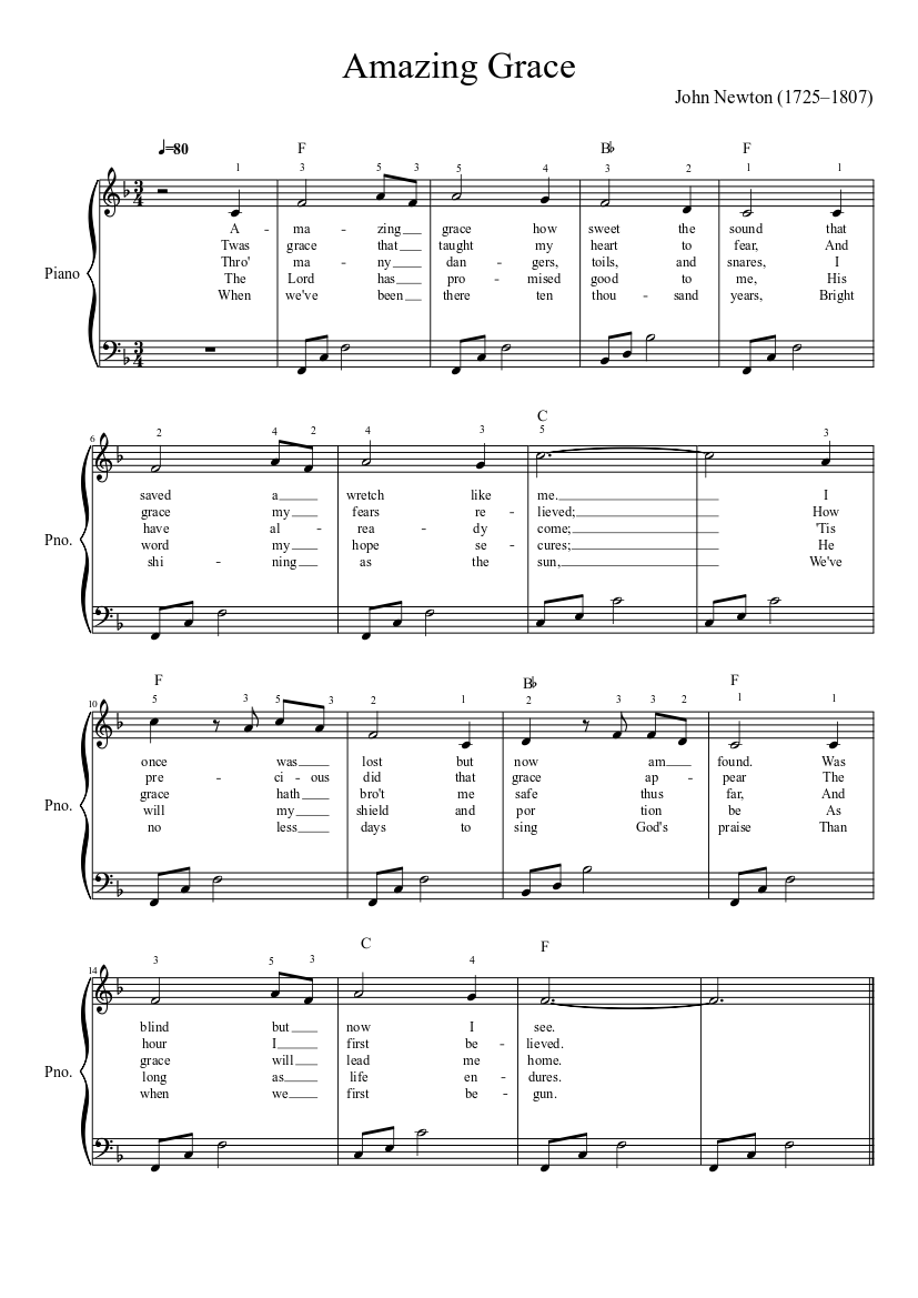 photo regarding Free Printable Piano Sheet Music for Amazing Grace named Unbelievable Grace (basic piano) sheet tunes down load free of charge within just PDF