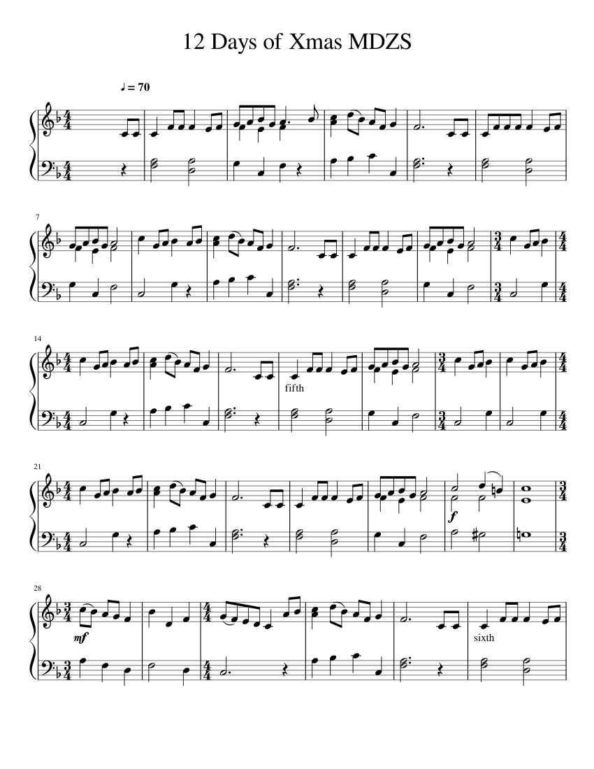 12 Days of Xmas MDZS TEST sheet music for Piano download free in PDF or MIDI