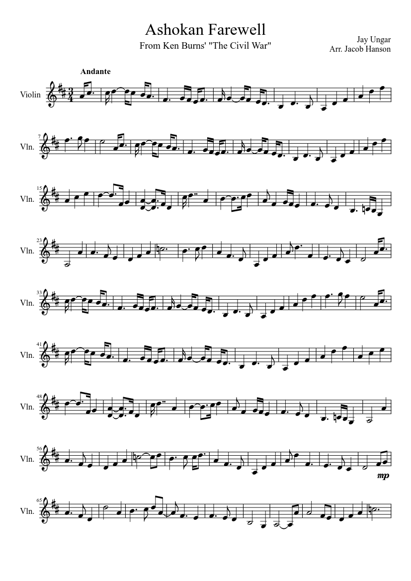 picture relating to Harry Potter Theme Song Piano Sheet Music Printable Free known as Ashokan Farewell - Towards Ken Burns \