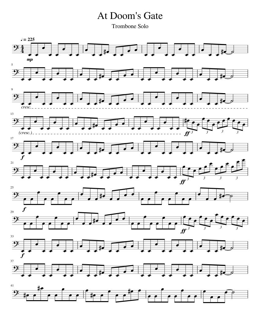 Doom: E1M1 (At Doom's Gate) - Trombone Solo sheet music for