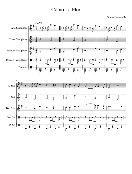 Sheet Music For Percussion Alto Saxophone With 5 Instruments Musescore Com