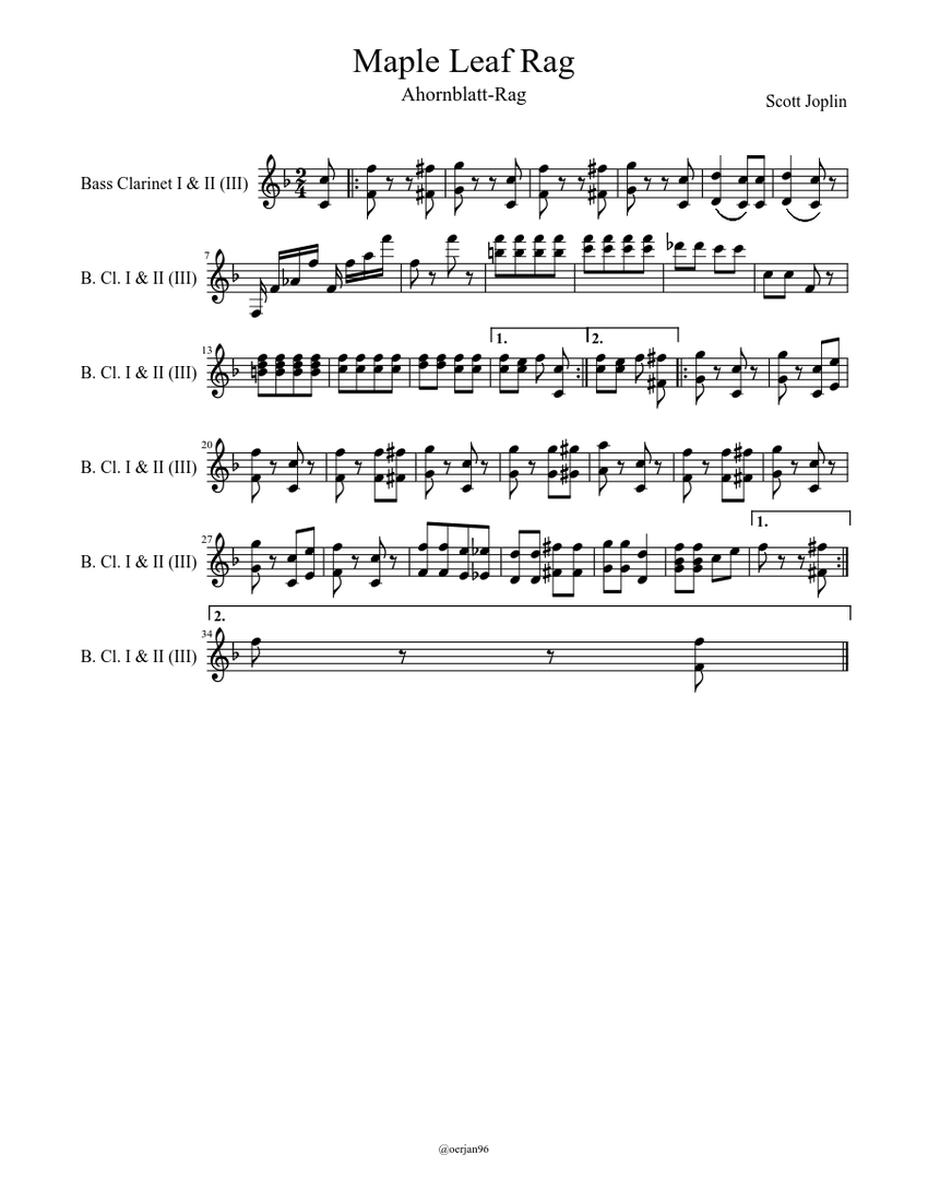 Maple Leaf Rag Sheet music   Download free in PDF or MIDI   Musescore.com