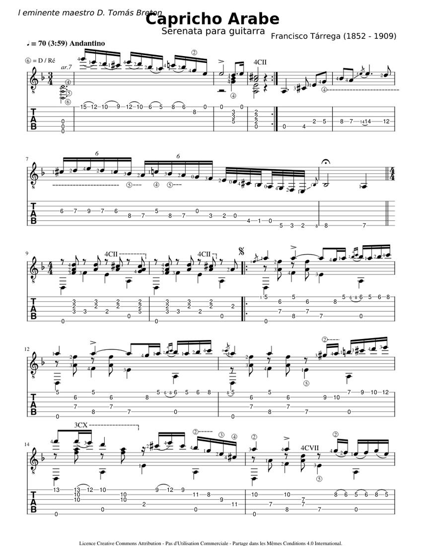 Capricho Arabe - Francisco Tarrega - Tab Sheet music for ...